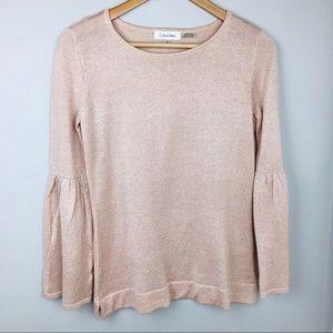 Calvin Klein Pink bell sleeve sweater